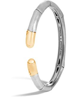 18k Yellow Gold And Sterling Silver Bamboo Slim Kick Cuff