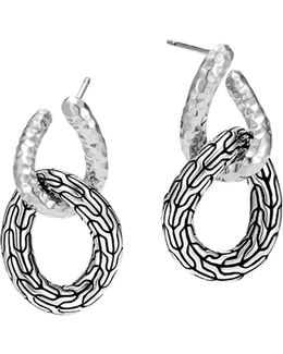 Sterling Silver Classic Chain Hammered Double Circle Drop Earrings