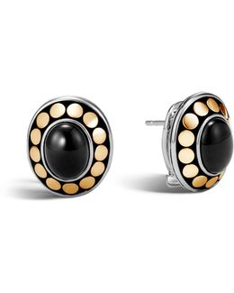 Sterling Silver And 18k Bonded Gold Dot Earrings With Black Onyx