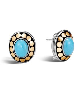 Sterling Silver And 18k Bonded Gold Dot Earrings With Turquoise