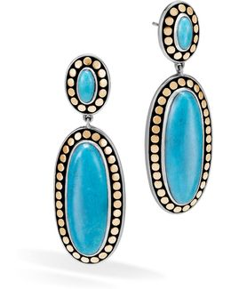 Sterling Silver And 18k Bonded Gold Dot Oval Drop Earrings With Turquoise