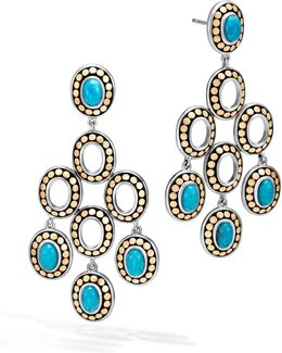 Sterling Silver And 18k Bonded Gold Dot Chandelier Earrings With Turquoise