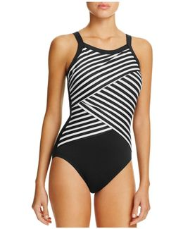 New Direction Crossover Stripe One Piece Swimsuit