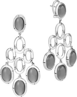 Sterling Silver Bamboo Chandelier Earrings With Grey Moonstone
