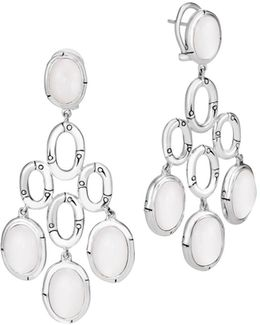 Sterling Silver Bamboo Chandelier Earrings With White Moonstone