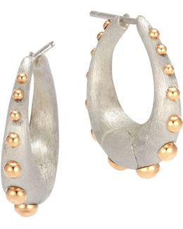 18k Yellow Gold And Sterling Silver Dot Medium Hoop Earrings