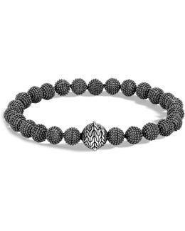 Men's Blackened Sterling Silver Classic Chain Jawan Beaded Bracelet