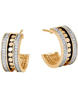 18k Yellow Gold Dot Diamond Hoop Earrings