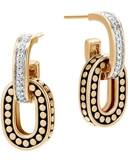 18k Yellow Gold Dot Diamond Small Drop Earrings