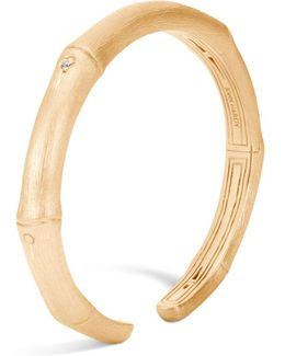 18k Brushed Yellow Gold Bamboo Slim Diamond Kick Cuff