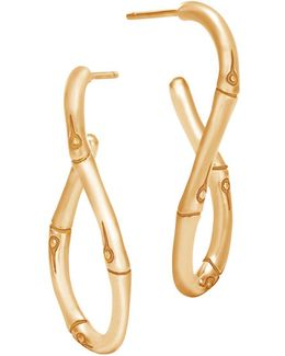 18k Yellow Gold Bamboo Twisted Hoop Earrings