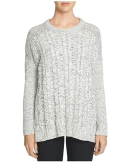 Drop Shoulder Cable Front Sweater