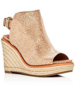Jacey Metallic Snake Embossed Leather High Heel Wedge Sandals