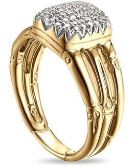 18k Yellow Gold Bamboo Ring With Diamonds