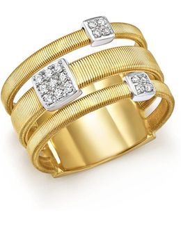 18k White And Yellow Gold Masai Three Row Pavé Diamond Ring