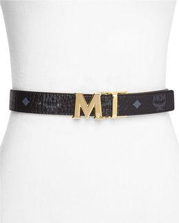 Flat Logo Buckle Reversible Belt