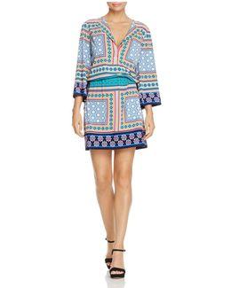 Pattern Block Drawstring Dress