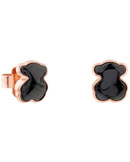 Onyx Mini Bear Stud Earrings