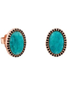 Amazonite & Black Spinel Oval Stud Earrings