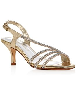 Bethany Metallic Embellished Mid Heel Sandals