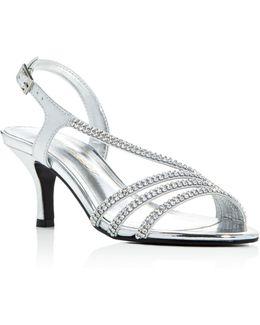 Bethany Metallic Embellished Mid Heel Sandals