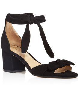 Ezra Suede Ankle Tie Mid Block Heel Sandals