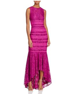 Lace Illusion High/low Gown