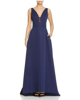 Infusion Cutout V-neck Gown