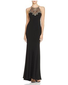 Embellished Mesh Inset Gown
