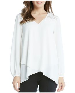 Lace Shoulder Faux Wrap Blouse