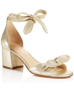 Ezra Metallic Mid Block Heel Sandals