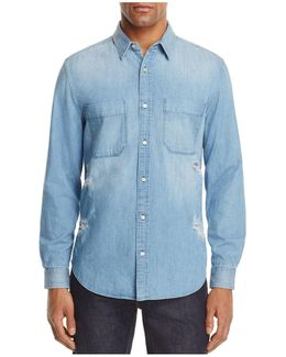 Destroyed Denim Regular Fit Button-down Shirt