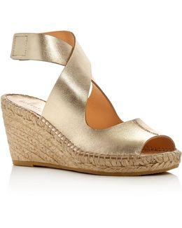 Mobile Metallic Espadrille Wedge Sandals