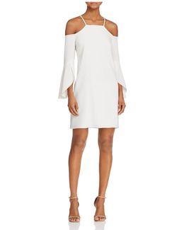 Flutter-sleeve Cold-shoulder Dress