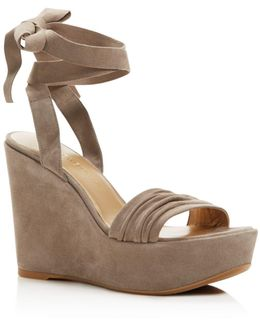 Swifty Ankle Wrap Platform Wedge Sandals