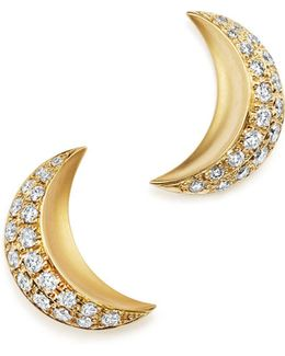 18k Yellow Gold Cresent Moon Earrings With Pavé Diamonds
