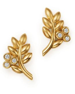 18k Yellow Gold Olive Branch Earrings With Diamonds