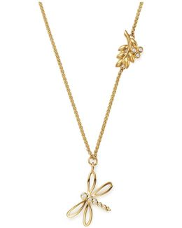 18k Yellow Gold Tree Of Life Charm Necklace With Diamonds
