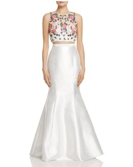 Embellished-bodice Two-piece Gown
