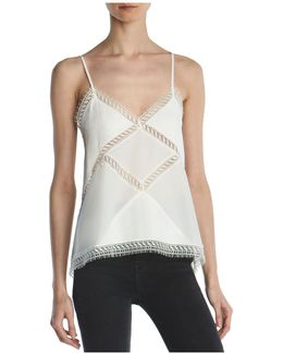 Lace-trimmed Silk Camisole Top
