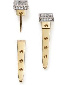 18k White And Yellow Gold Pois Moi Chiodo Front-back Earrings With Diamonds
