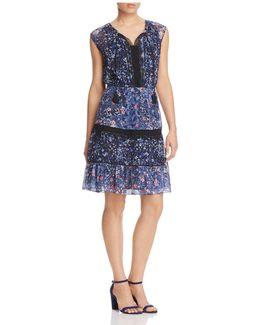 Giselle Lace Trim Mixed Floral Peasant Dress
