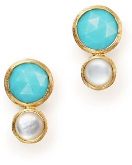 18k Yellow Gold Jaipiur Turquoise And Mother-of-pearl Climber Stud Earrings