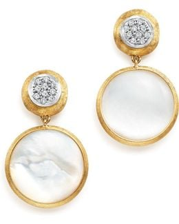 18k Yellow Gold Jaipur Mother-of-pearl And Diamond Drop Earrings