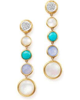 18k Yellow Gold Jaipur Multi Stone Drop Earrings With Diamonds