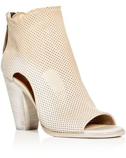 Harem Perforated Open Toe High Heel Booties
