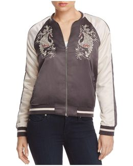 Phoenix Embroidered Color Block Bomber Jacket