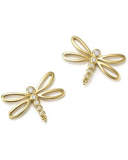 18k Yellow Gold Dragonfly Earrings With Diamonds