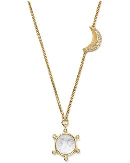 18k Yellow Gold Celestial Crystal Charm Necklace With Diamonds