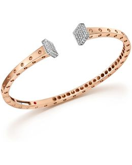 18k White And Rose Gold Pois Moi Chiodo Bangle With Diamonds